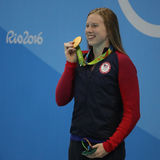 Olympic Champion Lilly King of the United States celebrates victory after Women`s 100m Breaststroke Final of the Rio 2016 Olympics Royalty Free Stock Images