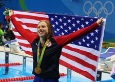 Olympic Champion Lilly King of the United States celebrates victory after Women`s 100m Breaststroke Final of the Rio 2016 Olympics Stock Image