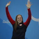 Olympic Champion Lilly King of the United States celebrates victory after Women`s 100m Breaststroke Final of the Rio 2016 Olympics Royalty Free Stock Image