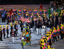 Olympic champion Michael Phelps carrying the United States flag leading the Olympic team USA in the Rio 2016 Opening Ceremony Royalty Free Stock Photo