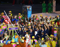 Olympic champion Michael Phelps carrying the United States flag leading the Olympic team USA in the Rio 2016 Opening Ceremony Royalty Free Stock Photography