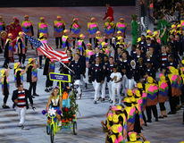 Olympic champion Michael Phelps carrying the United States flag leading the Olympic team USA in the Rio 2016 Opening Ceremony Royalty Free Stock Photos