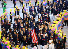 Olympic champion Michael Phelps carrying the United States flag leading the Olympic team USA in the Rio 2016 Opening Ceremony Stock Photos