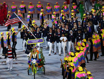 Olympic champion Michael Phelps carrying the United States flag leading the Olympic team USA in the Rio 2016 Opening Ceremony Stock Photo