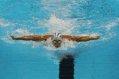 Olympic champion Michael Phelps of United States competes at the Men's 200m individual medley of the Rio 2016 Olympic Games. RIO DE JANEIRO, BRAZIL - AUGUST 10 stock image