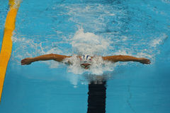 Olympic champion Michael Phelps of United States competes at the Men's 200m individual medley of the Rio 2016 Olympic Games. RIO DE JANEIRO, BRAZIL - AUGUST 10 stock images