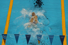 Olympic champion Michael Phelps of United States competes at the Men's 200m individual medley of the Rio 2016 Olympic Games. RIO DE JANEIRO, BRAZIL - AUGUST 10 Stock Photos