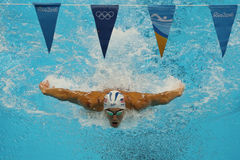 Olympic champion Michael Phelps of United States competes at the Men`s 200m individual medley of the Rio 2016 Olympic Games Royalty Free Stock Photos