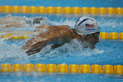 Olympic champion Michael Phelps of United States swims the Men`s 200m butterfly Heat 3 of Rio 2016 Olympic Games. RIO DE JANEIRO, BRAZIL - AUGUST 8, 2016 stock image