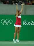 Olympic champion Monica Puig celebrates victory at women's singles final of the Rio 2016 Olympic Games Royalty Free Stock Photo