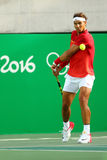 Olympic champion Rafael Nadal of Spain in action during men's singles quarterfinal of the Rio 2016 Olympic Games Stock Photo