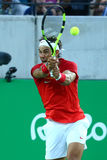 Olympic champion Rafael Nadal of Spain in action during men`s singles semifinal of the Rio 2016 Olympic Games Royalty Free Stock Photos