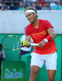 Olympic champion Rafael Nadal of Spain in action during men`s singles semifinal of the Rio 2016 Olympic Games Royalty Free Stock Photography