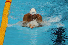 Olympic champion Ryan Lochte of United States competes at the Men's 200m individual medley relay of the Rio 2016 Olympics Royalty Free Stock Photos