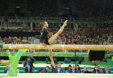 Olympic champion Sanne Wevers  of Netherlands competes at the final on the balance beam women's artistic gymnastics. RIO DE JANEIRO, BRAZIL - AUGUST 15, 2016 Royalty Free Stock Image