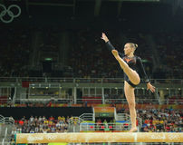 Olympic champion Sanne Wevers  of Netherlands competes at the final on the balance beam women's artistic gymnastics. RIO DE JANEIRO, BRAZIL - AUGUST 15, 2016 Stock Image