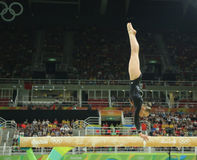 Olympic champion Sanne Wevers  of Netherlands competes at the final on the balance beam women's artistic gymnastics. RIO DE JANEIRO, BRAZIL - AUGUST 15, 2016 Stock Photos