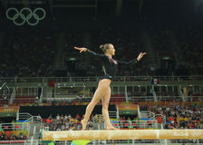 Olympic champion Sanne Wevers  of Netherlands competes at the final on the balance beam women's artistic gymnastics. RIO DE JANEIRO, BRAZIL - AUGUST 15, 2016 Stock Photo