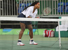 Olympic champion Serena Williams of United States in action during doubles first round match of the Rio 2016 Olympic Games Royalty Free Stock Image