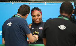 Olympic champion Serena Williams of United States during TV interview after singles first round match of the Rio 2016 Olympic Game. RIO DE JANEIRO, BRAZIL Stock Photography
