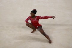 Olympic champion Simone Biles of United States during an artistic gymnastics floor exercise training session for Rio 2016 Olympics Royalty Free Stock Photos