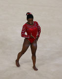 Olympic champion Simone Biles of United States during an artistic gymnastics floor exercise training session for Rio 2016 Olympics Royalty Free Stock Photo