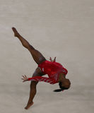 Olympic champion Simone Biles of United States during an artistic gymnastics floor exercise training session for Rio 2016 Olympics Stock Photos