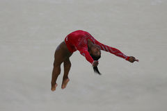 Olympic champion Simone Biles of United States during an artistic gymnastics floor exercise training session for Rio 2016 Olympics Royalty Free Stock Image