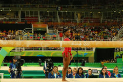 Olympic champion Simone Biles of United States competes at the final on the balance beam women`s artistic gymnastics at Rio 2016. RIO DE JANEIRO, BRAZIL AUGUST Royalty Free Stock Photography