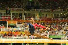 Olympic champion Simone Biles of United States competing on the balance beam at women's all-around gymnastics qualification Stock Photography