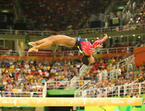 Olympic champion Simone Biles of United States competing on the balance beam at women`s all-around gymnastics qualification. RIO DE JANEIRO, BRAZIL AUGUST 7 Stock Images