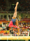 Olympic champion Simone Biles of United States competing on the balance beam at women`s all-around gymnastics qualification. RIO DE JANEIRO, BRAZIL AUGUST 7 Stock Photos