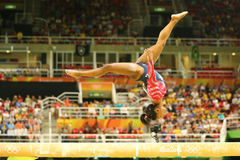 Olympic champion Simone Biles of United States competing on the balance beam at women`s all-around gymnastics qualification. RIO DE JANEIRO, BRAZIL AUGUST 7 Stock Image