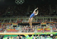 Olympic champion Simone Biles of United States competing on the balance beam at women's all-around gymnastics at Rio 2016 Stock Image
