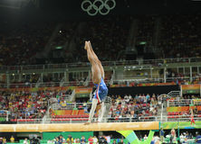 Olympic champion Simone Biles of United States competing on the balance beam at women's all-around gymnastics at Rio 2016 Royalty Free Stock Images