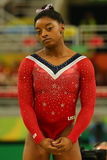 Olympic champion Simone Biles of United States before final competition on the balance beam women`s artistic gymnastics Rio 2016 Royalty Free Stock Image