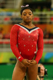 Olympic champion Simone Biles of United States before final competition on the balance beam women`s artistic gymnastics Rio 2016 Stock Photography