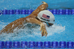 Olympic champion Tom Shields of United States swims the Men`s 200m butterfly Heat 2 of Rio 2016 Olympic Games Royalty Free Stock Images