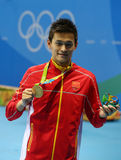 Olympic champion Yang Sun of China during medal ceremony after Men`s 200m freestyle of the Rio 2016 Olympics Royalty Free Stock Images