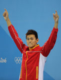 Olympic champion Yang Sun of China during medal ceremony after Men`s 200m freestyle of the Rio 2016 Olympics Stock Image