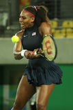 Olympic champions Serena Williams of United States in action during her singles round two match of the Rio 2016 Olympic Games Stock Photo