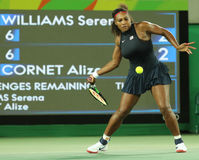 Olympic champions Serena Williams of United States in action during her singles round two match of the Rio 2016 Olympic Games Royalty Free Stock Image