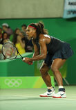 Olympic champions Serena Williams of United States in action during her singles round two match of the Rio 2016 Olympic Games Stock Photos