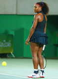 Olympic champions Serena Williams of United States in action during singles round three match of the Rio 2016 Olympic Games Royalty Free Stock Photos