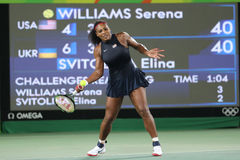 Olympic champions Serena Williams of United States in action during singles round three match of the Rio 2016 Olympic Games Royalty Free Stock Photo