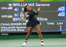 Olympic champions Serena Williams of United States in action during singles round three match of the Rio 2016 Olympic Games Royalty Free Stock Image