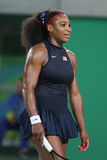 Olympic champions Serena Williams of United States in action during singles round three match of the Rio 2016 Olympic Games Royalty Free Stock Photography