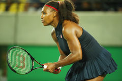 Olympic champions Serena Williams  of United States in action during singles round two match of the Rio 2016 Royalty Free Stock Images