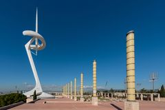 Olympic city, the communication tower Calatrava in Barcelona Royalty Free Stock Image