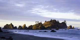 Olympic Coast. Sun set light hits the rocks along the coast in Washington Royalty Free Stock Photos